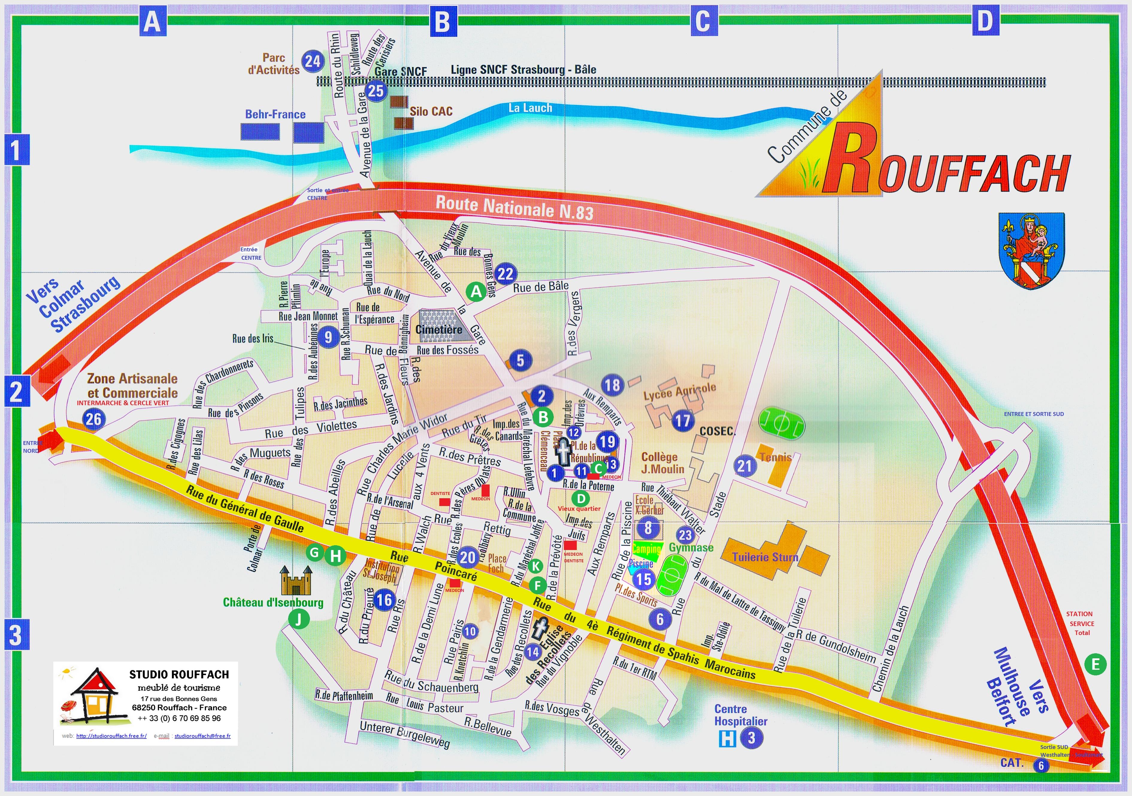 Карта Rouffach (Руффаш) с отмеченными достопримечательностями
